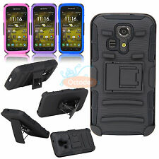 Rugged Hybrid Hard Case Cover+Belt Clip+KickStand For Kyocera Hydro Icon C6730