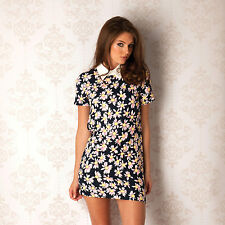 Glamorous Womens Floral Dress With Pointed Collar In Navy From Get The Label