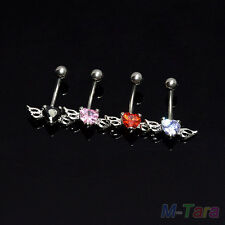Hot Body Piercing Jewelry Surgical Steel Navel Ring angel wings Belly Bar