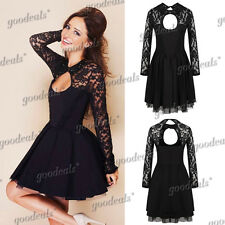 Womens Sexy Floral Lace Long Sleeve Backless Evening Party Bodycon Mini Dress