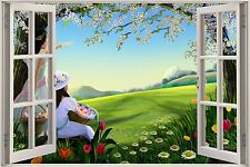 Huge 3D Window Childrens Fairytale Easter Egg View Wall Stickers Decal Mural
