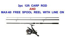 12ft 3pc CARP ROD & REEL COARSE MATCH FLOAT FEEDER FISHING SPINNING PIKE BASS