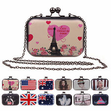 FREE SHIP~Women Patterned Clutch Box Evening Party Handbag Shoulder Chain Wallet