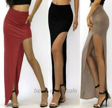 Latest European Style Women Asymmetrical High Waist Cut Out Side Slit Long Skirt