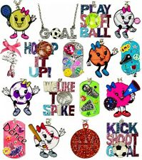 NWT Justice Girls Pendant Necklace Sports Cheer Dance Soccer & More U Pick! NEW!