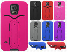 Samsung Galaxy S5 Rubber Hybrid HARD Case Cover Snap Tail STAND + Screen Guard