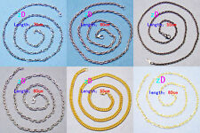 """n810m71 Lots 2pcs Stunning Gold Plated Mens Cool Water Wave Chain Necklace 24"""""""
