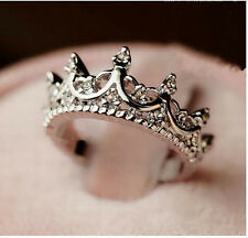 Silver -Korea Temperament Elegant Queen Crown Clear Crystals Lady Rings 4 Size