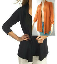 NEW SUSAN GRAVER Liquid Knit Open Cardigan with 3/4 Ruched Sleeves - CARDIGAN