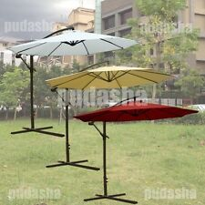 10 ft Parasol Cantilever Hanging Offset Patio Umbrella Canopy Sun Shade w/ Base