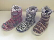 LADIES SLIPPER BOOTS SIZES 3/4, 5/6, 7/8 pink, brown or black KNITTED