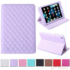 Folding Quilted Folio Faux Leather Cover Case Stand iPad 2 3 4 5 Air Mini Retina