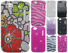 Cricket Alcatel Authority Crystal Diamond BLING Hard Case Snap On Phone Cover