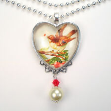 """VALENTINE'S DAY BIRD LOVE LETTER DELIVERY HEART """"VINTAGE CHARM"""" PENDANT NECKLACE"""