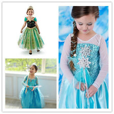 NEW Disney Frozen Elsa Dress Up Gown Costume Ice Princess Queen Dress Size 3-8Y