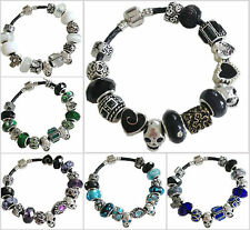 GOTH ROCKS!  Black Leather SKULL Sparkle Charm Bead Bracelet WHITBY 9 Colours