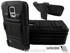 Black Heavy Duty Rugged Armor Case Cover & Belt Clip Holster for Various Phones