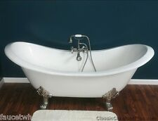 "72"" Wall Mount Double Slipper Cast Iron Clawfoot Tub w/ Wall Mount faucet pkg"