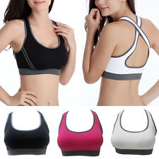 Women Top Athletic Vest Gym Sports Yoga Bra Seamless Lycra Padded Racerback Tank