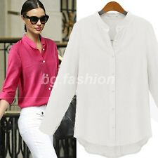 Fashion Womens Stand Collar Long Sleeve Tops Button Down T Shirt Casual Blouses