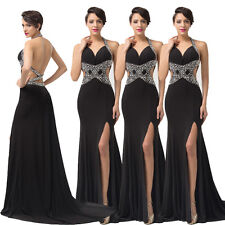 Vintage Sexy Mermaid Long Backless Formal Prom Gown Evening Dress Weeding Gowns