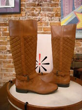 Isaac Mizrahi Ara2 Cognac Brown Quilted Leather Riding Boots New