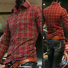 Luxury Men's Casual Tops Slim Muscle Fit Shirts Long Sleeve Polo Plaid T-Shirt