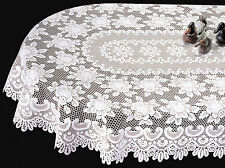 Heritage Lace Rose Oval Tablecloth, Choice of 2 Sizes & 2 Colors, Buy 1 or Set