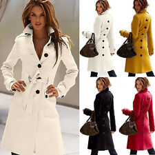 2014 New Women's Wool Blend Slim Military Trench Coat Belted Long Coat Jacket