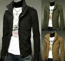 New Mens Casual Jackets Cotton Jacket Coat Size S M L Slim Fit Long Zip Overcoat