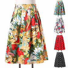 2014 Womens Pop Style Floral Polka Dots Half-Length Summer Vintage Skirts Dress