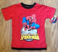 NWT Youth Marvel Spiderman on Stone Head Red Shirt w/Navy Trim Various Sizes