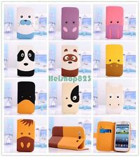 Cartoon Animal Face Flip Wallet Stand PU Leather Case Cover For Apple Samsung