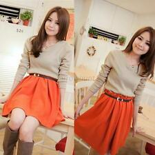 Autumn Knit Blend Long Sleeve Splice Color Dress Skirt For Women Lady Girl