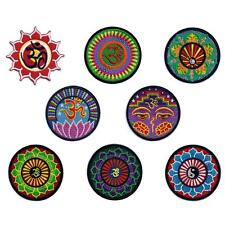 """OHM LOTUS IRON ON PATCH 3"""" Yin Yang Aum Om Hippie Yoga Hindu Peace Embroidered"""