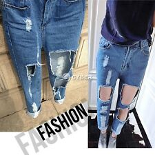 High Waist Destroyed Ripped Jeans Pants Casual Denim Hole Torn Straight Trousers