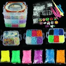 2200 ~9000 Colorful Rainbow Rubber Loom Bands Bracelet Making Kit With S-Clip