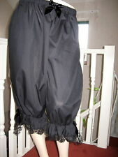 New Gothic Lagenlook Lolita Black lace Sissy Extra Long Bloomers Pantaloons Gift