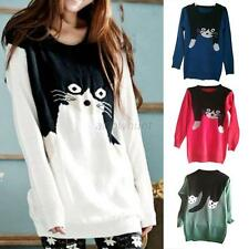 Women Cute Big Cat Print Animal Knit Knitwear Pullover Jumper Sweater Loose Tops