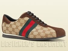 GUCCI Mens Original GG Canvas & Suede red/green Web Sneakers shoes NIB Authentic