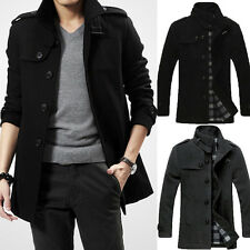 Men's Winter Warm Blazer Pea Wool Trench Coat Military Jacket Overcoat Outwear
