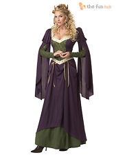 Ladies Medieval Fancy Dress Costume Renaissance Queen Lady In Waiting Womens