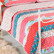 Linens Limited Lottie Antique Rose Print Quilted Bedspread, Red