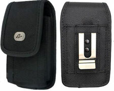Black Vertical Rugged Canvas Belt Clip Case Pouch Cover for NOKIA Cell Phones