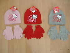 HAT AND GLOVES SET HELLO KITTY GIRLS NAVY CREAM PINK AGES 2-4 4-8 YEARS