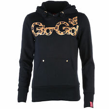 Womens Gio Goi Lanercrost Leopard Print Logo Hoody In Black From Get The Label