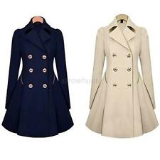Womens Slim Coat Double Breasted Peacoat Lapel Long Outwear Slim Trench Coat AR6