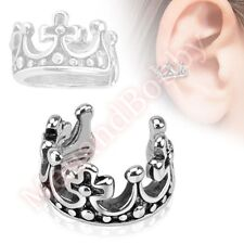 Crown Non Piercing Clip On Ear Cuff Body Jewellery CHOOSE SINGLE OR PAIR