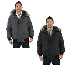 Kenneth Cole Reaction Men's Bubble Down Jacket Coat Hooded Faux Fur Trim