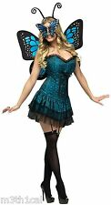 Sexy Blue Butterfly Baby Fairy Wings Dress Masquerade Adult Womens Costume